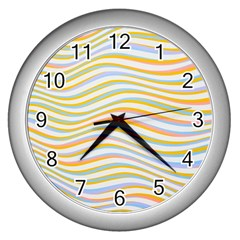 Art Abstract Colorful Colors Wall Clocks (silver)  by Celenk