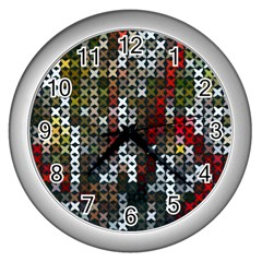 Christmas Cross Stitch Background Wall Clocks (silver)