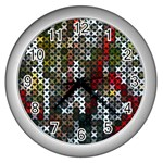Christmas Cross Stitch Background Wall Clocks (Silver)  Front