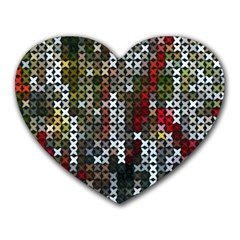 Christmas Cross Stitch Background Heart Mousepads by Celenk