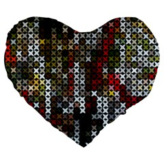 Christmas Cross Stitch Background Large 19  Premium Flano Heart Shape Cushions by Celenk