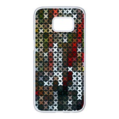 Christmas Cross Stitch Background Samsung Galaxy S7 Edge White Seamless Case