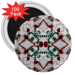 Christmas Paper 3  Magnets (100 Pack) by Celenk