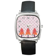 Christmas Card Elegant Square Metal Watch by Celenk