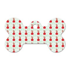 At On Christmas Present Background Dog Tag Bone (two Sides) by Celenk