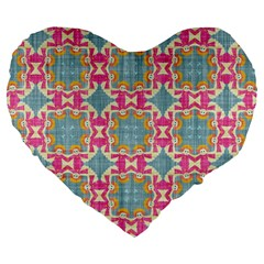 Christmas Wallpaper Large 19  Premium Flano Heart Shape Cushions by Celenk