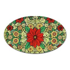 Calsidyrose Groovy Christmas Oval Magnet by Celenk