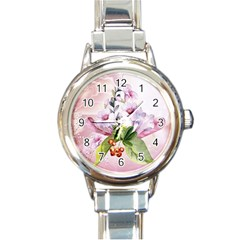 Wonderful Flowers, Soft Colors, Watercolor Round Italian Charm Watch by FantasyWorld7