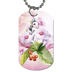 Wonderful Flowers, Soft Colors, Watercolor Dog Tag (two Sides) by FantasyWorld7