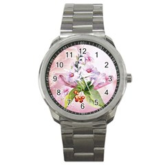 Wonderful Flowers, Soft Colors, Watercolor Sport Metal Watch by FantasyWorld7