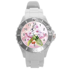 Wonderful Flowers, Soft Colors, Watercolor Round Plastic Sport Watch (l) by FantasyWorld7