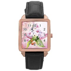 Wonderful Flowers, Soft Colors, Watercolor Rose Gold Leather Watch  by FantasyWorld7