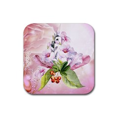 Wonderful Flowers, Soft Colors, Watercolor Rubber Square Coaster (4 Pack)  by FantasyWorld7