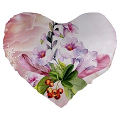 Wonderful Flowers, Soft Colors, Watercolor Large 19  Premium Flano Heart Shape Cushions by FantasyWorld7