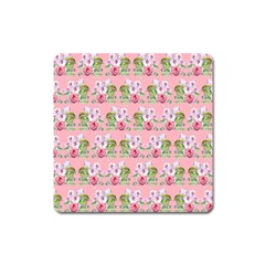 Floral Pattern Square Magnet by SuperPatterns