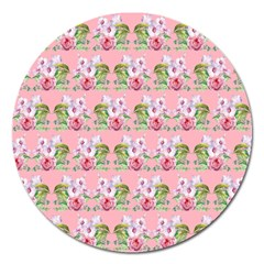 Floral Pattern Magnet 5  (round) by SuperPatterns