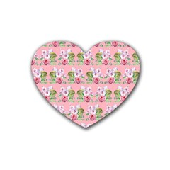 Floral Pattern Heart Coaster (4 Pack)  by SuperPatterns