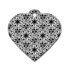 Star Crystal Black White 1 And 2 Dog Tag Heart (two Sides) by Cveti
