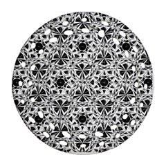 Star Crystal Black White 1 And 2 Round Filigree Ornament (two Sides) by Cveti