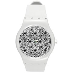 Star Crystal Black White 1 And 2 Round Plastic Sport Watch (m) by Cveti