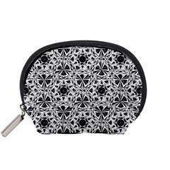Star Crystal Black White 1 And 2 Accessory Pouches (small)  by Cveti