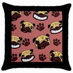 Happy Pugs Throw Pillow Case (black)
