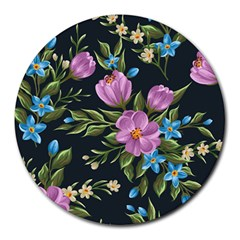 Beautiful Floral Pattern Round Mousepads