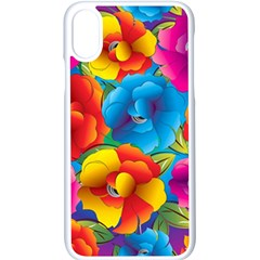 Neon Colored Floral Pattern Apple Iphone X Seamless Case (white) by allthingseveryday