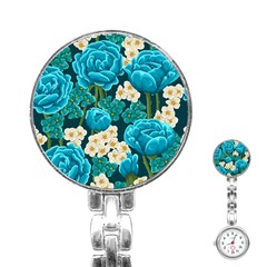 Light Blue Roses And Daisys Stainless Steel Nurses Watch by allthingseveryday