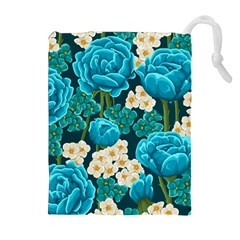Light Blue Roses And Daisys Drawstring Pouches (extra Large) by allthingseveryday