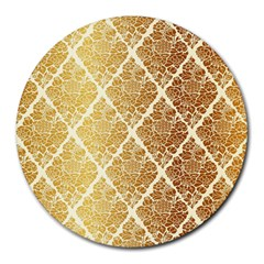 Vintage,gold,damask,floral,pattern,elegant,chic,beautiful,victorian,modern,trendy Round Mousepads by 8fugoso