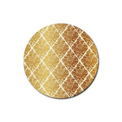 Vintage,gold,damask,floral,pattern,elegant,chic,beautiful,victorian,modern,trendy Rubber Coaster (round)  by 8fugoso