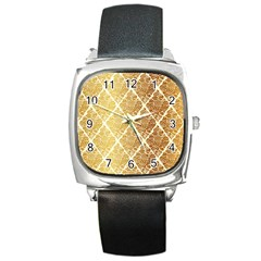 Vintage,gold,damask,floral,pattern,elegant,chic,beautiful,victorian,modern,trendy Square Metal Watch by 8fugoso
