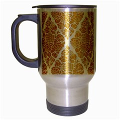Vintage,gold,damask,floral,pattern,elegant,chic,beautiful,victorian,modern,trendy Travel Mug (silver Gray) by 8fugoso