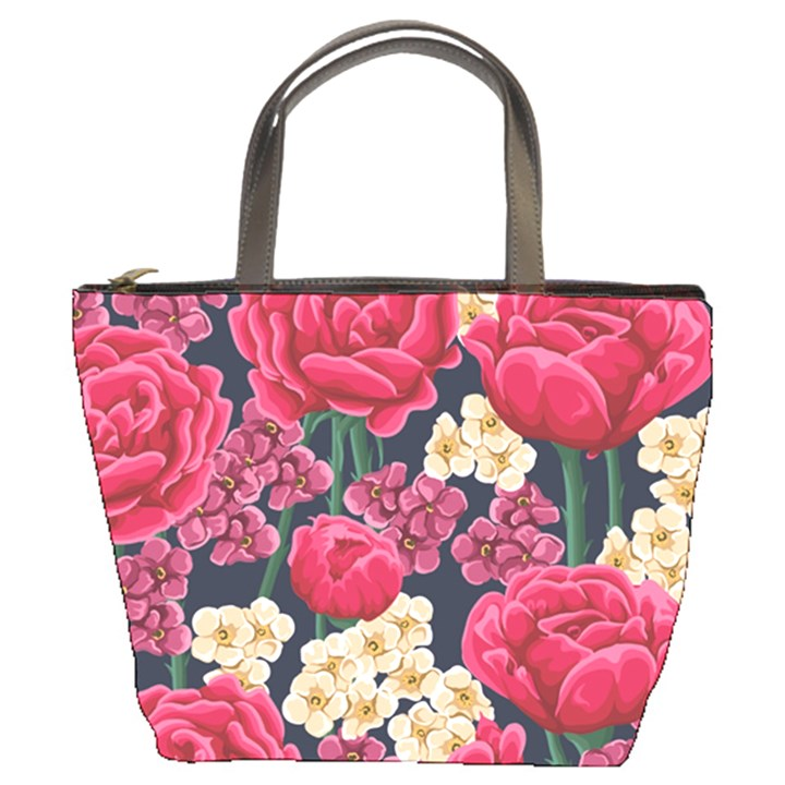 Pink Roses And Daisies Bucket Bags