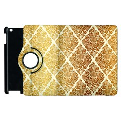 Vintage,gold,damask,floral,pattern,elegant,chic,beautiful,victorian,modern,trendy Apple Ipad 2 Flip 360 Case by 8fugoso
