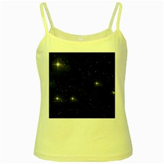 Starry Galaxy Night Black And White Stars Yellow Spaghetti Tank by yoursparklingshop