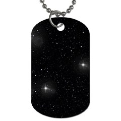 Starry Galaxy Night Black And White Stars Dog Tag (one Side) by yoursparklingshop