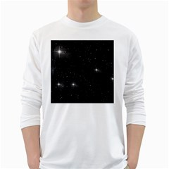 Starry Galaxy Night Black And White Stars White Long Sleeve T Shirts by yoursparklingshop