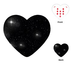 Starry Galaxy Night Black And White Stars Playing Cards (heart)  by yoursparklingshop