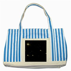 Starry Galaxy Night Black And White Stars Striped Blue Tote Bag by yoursparklingshop