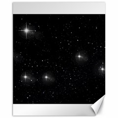 Starry Galaxy Night Black And White Stars Canvas 11  X 14   by yoursparklingshop