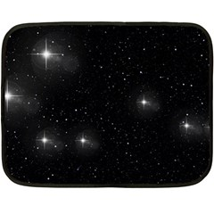 Starry Galaxy Night Black And White Stars Fleece Blanket (mini) by yoursparklingshop