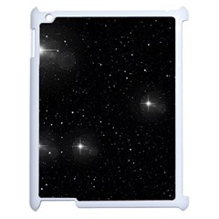 Starry Galaxy Night Black And White Stars Apple Ipad 2 Case (white) by yoursparklingshop