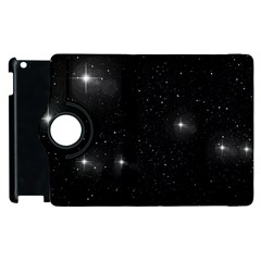 Starry Galaxy Night Black And White Stars Apple Ipad 2 Flip 360 Case by yoursparklingshop