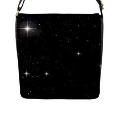 Starry Galaxy Night Black And White Stars Flap Messenger Bag (l)  by yoursparklingshop