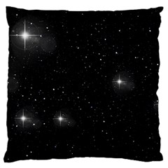 Starry Galaxy Night Black And White Stars Large Flano Cushion Case (two Sides) by yoursparklingshop