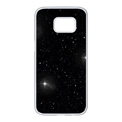 Starry Galaxy Night Black And White Stars Samsung Galaxy S7 Edge White Seamless Case by yoursparklingshop