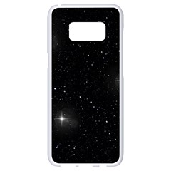 Starry Galaxy Night Black And White Stars Samsung Galaxy S8 White Seamless Case by yoursparklingshop