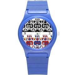 Bulgarian Folk Art Folk Art Round Plastic Sport Watch (s) by Celenk